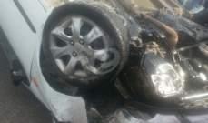 جريح بانحراف سيارة وانقلابها على سطح كاراج في كفركلا