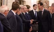 الأسد لوفد روسي: العلاقات الثنائية تشكل عامل قوة رئيسيا لشعبي البلدين