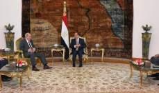 السيسي:للعمل على تطوير العلاقات مع العراق وتعزيز التضامن بين الدول العربية