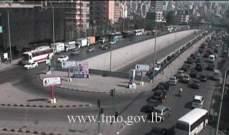 حركة المرور كثيفة من المدينة الرياضية باتجاه الكولا وصولاً الى نفق سليم سلام
