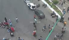 قطع السير عند مستديرة الاونيسكو مقابل وزارة التربية من قبل بعض المحتجين
