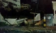 النشرة: اصطدام سيارة بحائط في عبرا شرق صيدا