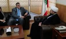 قبلان عرض مع المنسق الخاص للأمم المتحدة في لبنان الأوضاع العامة