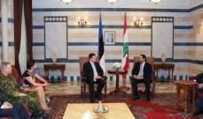 رئيس وزراء استونيا: ندعم استضافة لبنان للنازحين وندعم أمنه واستقراره