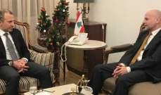 """باسيل التقى مدير عام """"الأونروا"""" وسفير فرنسا وتسلم اوراق اعتماد البخاري"""