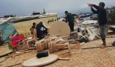 النشرة: الرياح القوية تقتلع خيم النازحين في مخيم الوزاني