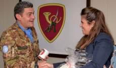 """رئيسة مؤسسة """"الشهيد المقدم صبحي العاقوري"""" زارت مقر الكتية الإيطالية باليونيفيل"""