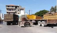 قطع الطريق من قبل بعض اصحاب الشاحنات محلة المرفأ- طرابلس