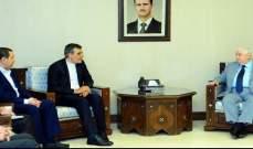 المعلم بحث مع أنصاري سبل تعزيز العلاقات الاستراتيجية بين سوريا وإيران