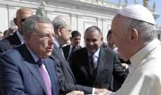 السنيورة التقى البابا فرنسيس: للتمسك بالعيش المشترك الاسلامي المسيحي