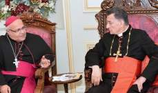 البطريرك الراعي إستقبل المطران آسيان ووفدا من مجلس الشيوخ الفرنسي