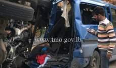 10 جرحى اثر تصادم بين حافلة لنقل الركاب و3 مركبات على أوتوستراد القلمون
