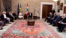 الرئيس عون: نقدر الجهود التي تبذلها السويد بسبيل تحقيق التنمية المستدامة