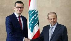الرئيس عون لرئيس وزرء بولندا: لتأمين عودة النازحين السوريين لبلادهم