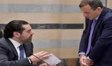 """أوساط لـ""""الأنباء"""": الحريري أبلغ باسيل عدم استعداده للسير بخياراته"""
