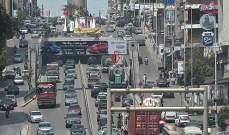 تعطل جبالة باطون على اول نفق سليم سلام باتجاه وسط بيروت وحركة المرور كثيفة