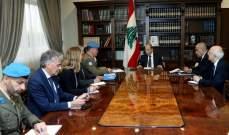"""الرئيس عون بحث مع قائد """"اليونيفيل"""" التطورات الأخيرة في الجنوب"""