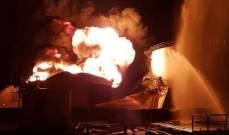 احتواء النيران اثر حريق اندلع بأحد خزانات النفط بمصفاة عدن نتيجة انفجار مجهول المصدر