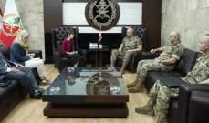 قائد الجيش بحث مع ميراي جيرار أوضاع النازحين السوريين في لبنان
