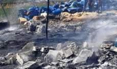 إخماد حريق داخل غرفة للعمال وبراميل ضمن معمل لتصنيع المخللات في قصرنبا