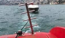 """الدفاع المدني:سحب زورق سياحي على متنه سائقه إلى ميناء """"ATCL"""" بعد عطل بمحركه"""