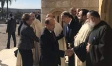 وصول الرئيس عون للمشاركة بالقداس الإلهي لمناسبة عيد القديس انطونيوس بدير مار انطونيوس ببعبدا
