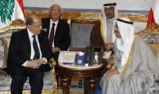 الرئيس عون وأمير الكويت اتفقا على تعزيز التعاون بين البلدين بكل المجالات