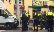إصابة 8 أشخاص جراء دهس حافلة صغيرة حشدا من المارة في برشلونة