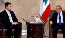 الرئيس عون أبلغ رئيس وزراء استونيا تقدير لبنان للدور الذي تلعبه باليونيفيل