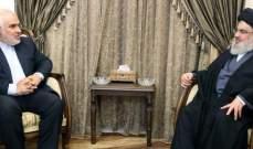 نصرالله التقى السفير الايراني في لبنان بزيارة وداعية