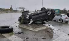 النشرة: انقلاب سيارة رباعية الدفع على اوتوستراد الزهراني وجرح سائقها