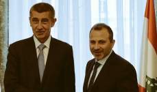 باسيل عرض مع رئيس مجلس الوزراء التشيكي المواضيع الاقليمية في المنطقة