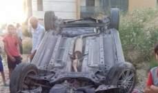النشرة: انقلاب سيارة في بلدة بقسطا شرق صيدا ونجاة سائقها بأعجوبة