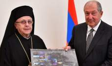 درويش خلال استقبال رئيس أرمينيا: لمزيد من التع بين البلدين