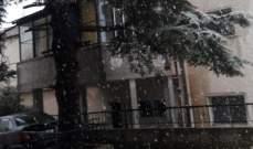 النشرة: تساقط الأمطار بغزارة في زحلة مترافقة مع زخات من البرد