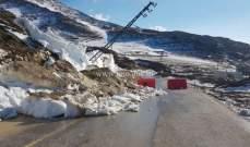 طريق ترشيش زحلة مقطوعة بسبب انجراف التربة والصخور
