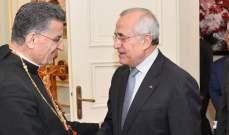 سليمان بعد لقائه الراعي:لتحييد لبنان عن الصراعات والحزم بمكافحة الفساد