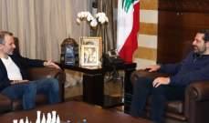 الحريري عرض وباسيل للتطورات المتعلقة بملف تشكيل الحكومة