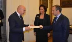 باسيل استلم أوراق اعتماد كلا من سفير الاوروغواي وسفير ارمينيا