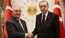 الرئاسة التركية:أردوغان بحث مع تيلرسون الوضع في سوريا والعراق والمنطقة