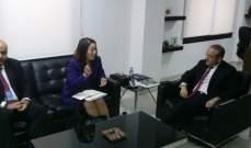 خوري بحث مع رئيسة وكالة ميغا كيفية تطوير العلاقات لما فيه مصلحة لبنان
