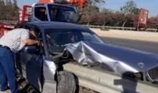 حادث سير على اوتوستراد الزهراني في منطقة الغازية