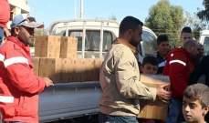 الهلال الأحمر وزّع مساعدات غذائية للمتضررين جراء الفيضانات في الحسكة