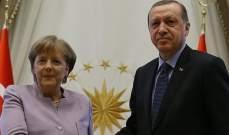 أردوغان يبحث مع ميركل العلاقات الثنائية والتطورات في سوريا