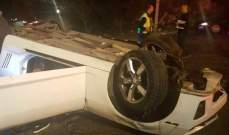 3 جرحى بإنقلاب سيارتين في غوسطا وغادير كسروان