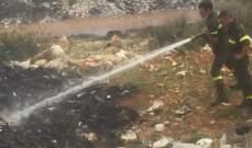 إخماد حريق في فان على طريق عام الفرزل وحريق داخل مكب للنفايات بمجدل عنجر