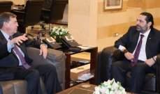 الحريري بحث مع ساترفيلد بالعلاقات الثنائية والتقى جمعيات تعنى بشؤون النقل