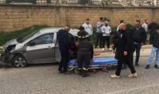 الدفاع المدني: جريحة نتيجة حادث سير على طريق عام عنجر البقاعة