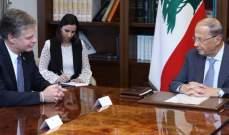 """الرئيس عون التقى مدير مكتب الـ""""FBI"""" على رأس وفد بحضور ريتشارد وجريصاتي"""