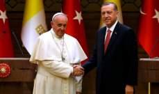 أردوغان للبابا فرنسيس:لا يمكن قبول انتهاك وضع القدس التي تحظى بأهمية دينية